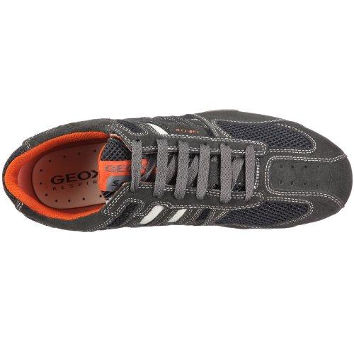 Geox Uomo Snake - Zapatillas de ante hombre gris - Grau (dk grey/off white C1300)