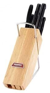Bergner - Cuchillos, juego de 7piezas, incluye bloque de madera, diversos tipos de cuchillo