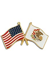 Illinois and USA Crossed Friendship Flag Lapel Pin