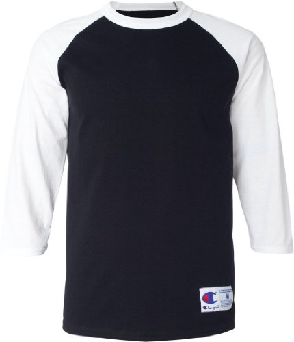 - Champion Men's Contrast Raglan Sleeve Baseball T-Shirt, Black/White, XL