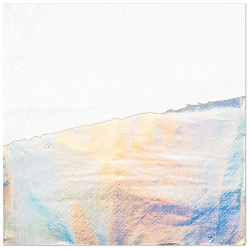 Andaz Press Iridescent Holographic Silver Foil Dipped 5-Inch Cocktail Napkins Bulk 50-Pack Count, 3-Ply Disposable Modern Lunch Napkins for Iridescent Theme Party, Mermaid, Unicorn, Baby Shower