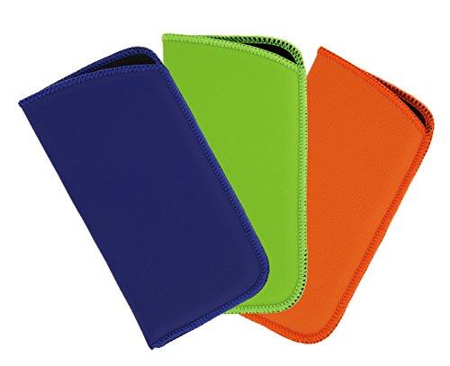3 Pack Faux Leather Soft Slip In Eyeglass Case For Women & Men, Blue/Green/Orange