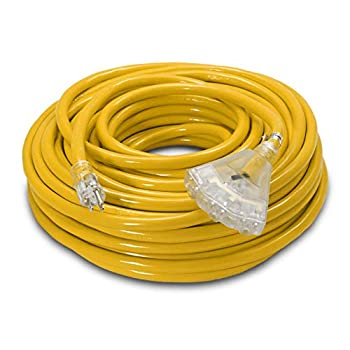Image of 100-ft 10/3 Heavy Duty 3-Outlet Lighted SJTW Indoor/Outdoor Extension Cord by Watt's Wire - Long Yellow 100' 10-Gauge Grounded 15-Amp Three-Prong Power-Cord (100 foot 10-Awg) Home Improvements