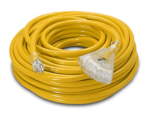 100-ft 10/3 Heavy Duty 3-Outlet Lighted SJTW Indoor/Outdoor UL Listed Extension Cord by Watt's Wire - Long Yellow 100' 10-Gauge Grounded 15-Amp Three-Prong Power-Cord (100 foot 10-Awg) from Watt's Wire
