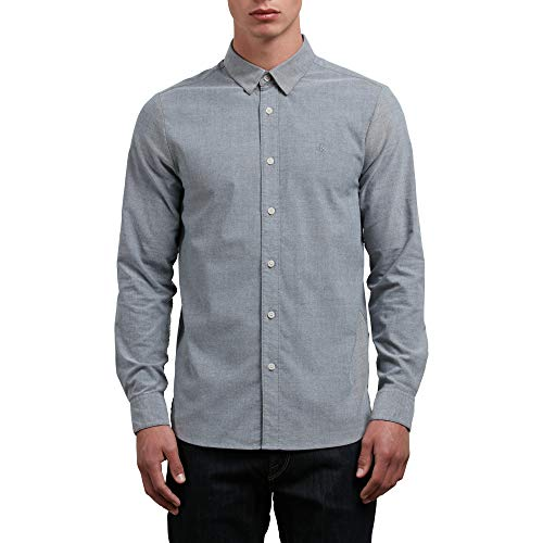 (Volcom Men's Oxford Stretch Long Sleeve Button Up Shirt, Black Medium)