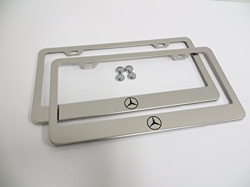 (2 Pieces Mercedes Logo Stainless Steel Chrome License Plate Frame Tag Holder)