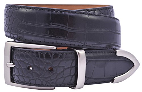 Black Croco Leather (PGA Men's Croco Print 3 Piece Leather Belt, 44, Black)