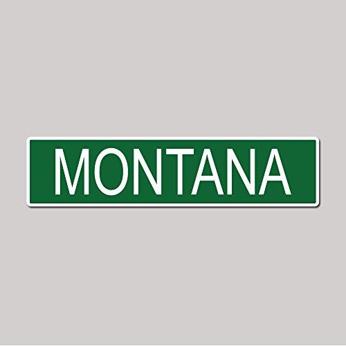 MONTANA State Pride Green Vinyl on White - 4X17 Aluminum Street - Plaza Granite