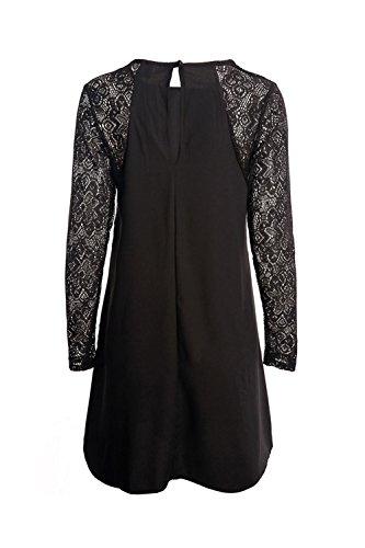 La Mujer Es Elegante Encaje Patchwork Swing Tunic Dress Black