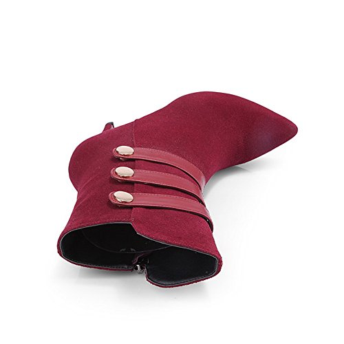 Winkle Materials Claret High Heels Blend with Allhqfashion Stiletto Women's and Pinker Boots 0q7BnT