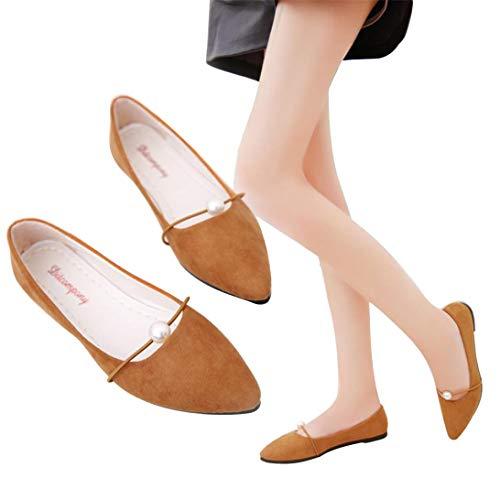 Talon Plat Sunnywill Daim Chaussures Marron Plat Talon Pointu Unie avec Femme à en Plat pour Couleur Pois Décontractées Pointé Daim des à Talon Chaussures zqvrzx4