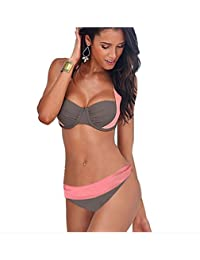 R-LivE Women Bandeau Swimwear Bikini Set Padded Push Up Top and Bottom Swimsuits