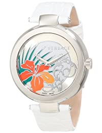 Versace Women's I9Q99D1HI S001 Mystique Stainless Steel Watch with White Leather Band