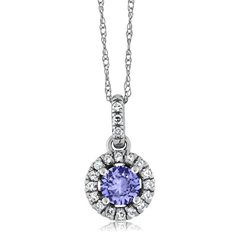 18K White Gold Diamond Halo Solitaire Pendant with 0.40 Ct Round Blue by Gem Stone King