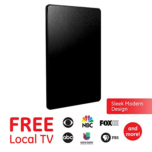 Pro Flat - GE Pro Flat Indoor TV Antenna, 30 Mile Antenna, Slim Home Decor, Digital, HDTV Antenna, Smart TV, 4K 1080P VHF UHF, Coaxial Cable, Removable Extendable Dipoles, Black, 33688