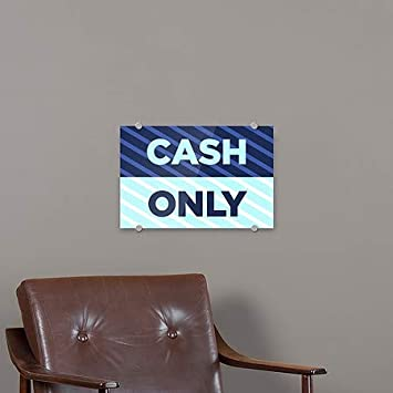 Cash Only 5-Pack CGSignLab Stripes Blue Premium Acrylic Sign 27x18