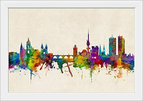 Praha Czech Republic Watercolor Skyline Wall Art Home Decor Poster UNFRAMED