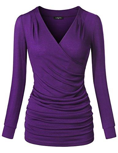 Laksmi Women's Long Sleeve Cross V Neck Wrap