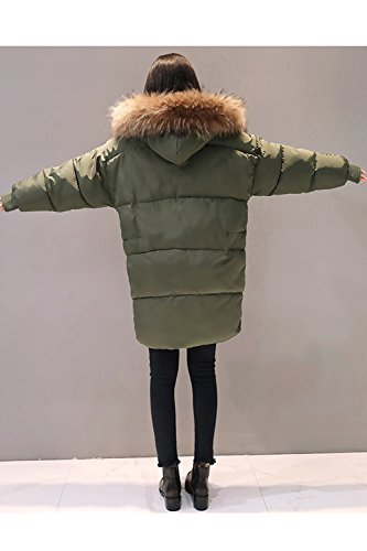 Green Women Winter Casual Hooded Long Sevozimda Parkas Furry Outwear Quilted pwSq1Sz