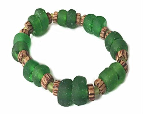 Coconut Bracelet Shell Stretch (Mermaid Aloha Green Beach Glass with Beads and Coconut Shell Disks Hawaiian Bracelet)