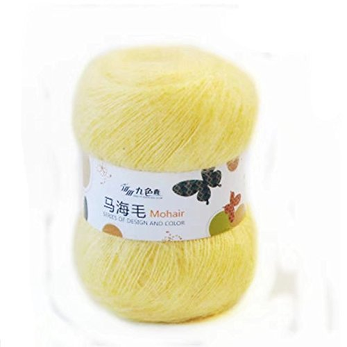 Celine lin One Skein Soft Natural Angola Mohair Wool Knitting Yarn - Yellow Mohair
