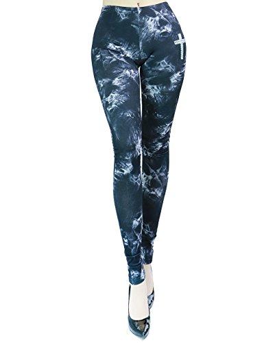 Women's Fashion Stretch Tie Dye Print Leggins With Metallic Cross Detail (LARGE, BLACK-SWP2016)