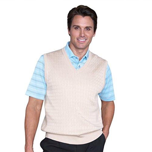 Monterey Club Mens Classic 12 Gauge V-Neck Sweater Vest #1954 (Light Khaki, (1954 Tail Light)