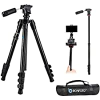BONFOTO B73A 58 Portable Aluminum Alloy Lightweight Camera Travel Tripod and Monopod with Panorama Pan Head,Quick Release Plate and Carry Bag for Smartphones and Most DSLR Cameras with 1/4 Screw