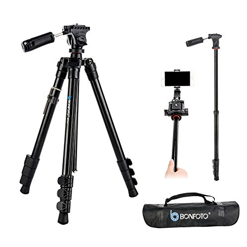BONFOTO B73A 58″ Portable Aluminum Alloy Lightweight Camera Travel Tripod and Monopod with Panorama Pan Head,Quick Release Plate and Carry Bag for Smartphones and Most DSLR Cameras with 1/4″ Screw