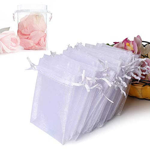 Hopttreely 100PCS Premium Sheer Organza Bags, White Wedding Favor Bags Drawstring, 4x4.72 Jewelry Gift Bags Party, Jewelry, Festival, Bathroom Soaps, Makeup Organza Favor Bags