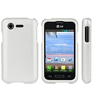 Slim Light Weight 2 piece Snap On Non-Slip Matte Hard Rubber Coated Rubberized Premium Protection Case Cover For LG Optimus Fuel L34C - White - Retail Packaging
