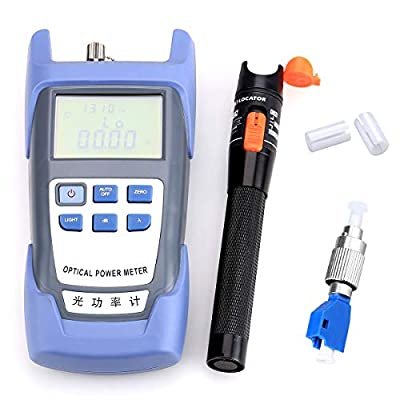 Fiber Optical Power Meter with 10mW Visual Fault Locator Optic Cable Tester Checker and FC-LC Adapter Test Tool for CATV Telecommunications Engineering Maintenance