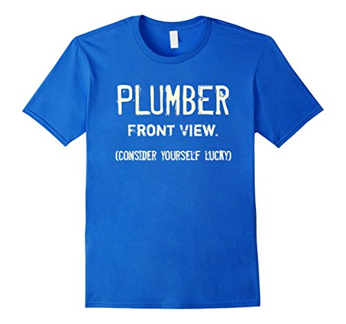 Funny Plumber Costume - Mens Plumber - Front View. | Funny Halloween Costume Party Tee Small Royal Blue