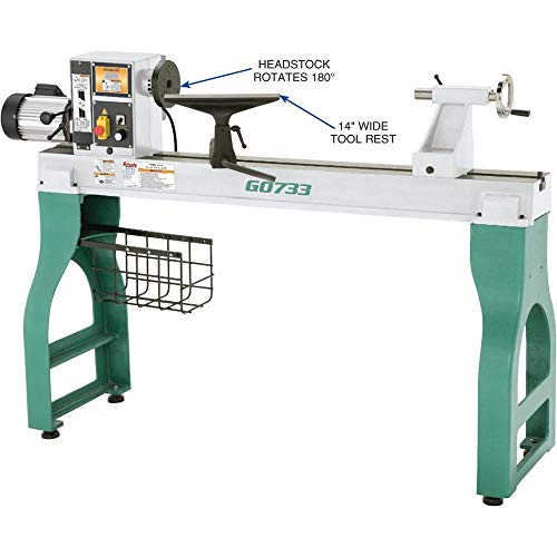 "Grizzly Industrial G0733-18"" x 47"" Heavy-Duty Wood Lathe"