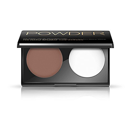 Face Bronzer Powder and Highlighter,Delicate Skin-Friendly Double Color Makeup Contour Powder Palette,ROMANTIC BEAR (White and Dark Coffee)