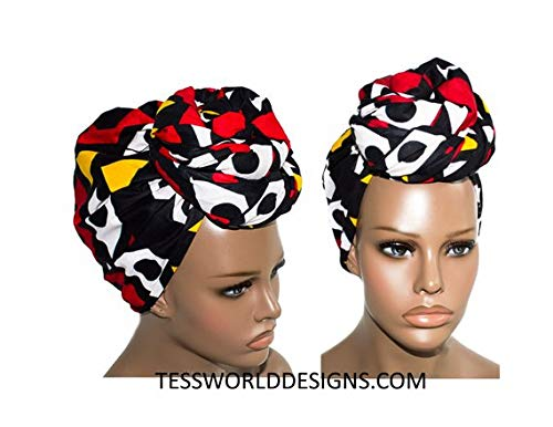 Hitarget African Head Wrap Women Wrap Scarf HT62 (Red and Yellow) by Tess World Designs