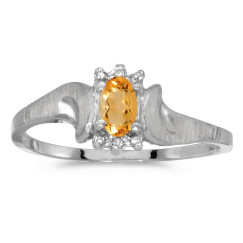 10k White Gold Oval Citrine And Diamond Satin Finish Ring (Size 4.5) by Direct-Jewelry