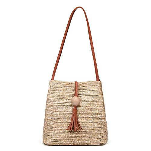 Women's Summer Straw Bucket Tote Bag Straw Woven Handbag Tassel Shoulder Bag (Brown)