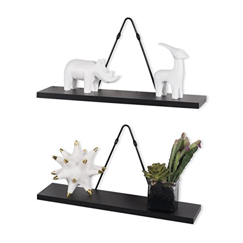Rustic State Wall Mount Floating Shelves - Wood with Triangle Bracket - Set of 2 (Black) - Floating Triangle