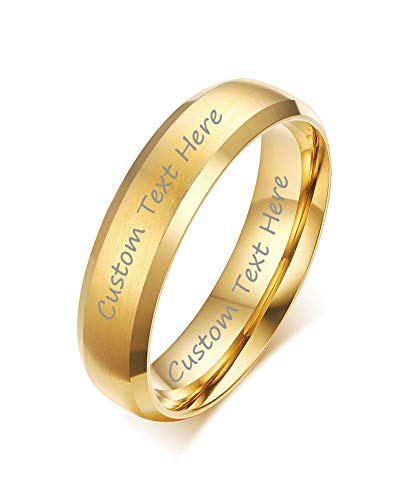 VNOX Customize Gold Plated Stainless Steel Beveled Edge Matte Brushed Finish Rings for Wedding Band,Size 9