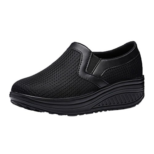 VEMOW Sports Outdoor Shoes for Women, Trainers Mary Janes Cute Lace-up Flats Flip Flops Thongs Espadrilles Wedge Running Walking Dance, Breathable Sneakers Fitness Platform Black