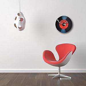 """NeXtime Reloj de pared  """"VINYL TAP"""", diseño disco de vinilo, de vidrio, negro y rojo, redondo, ø 43 cm 4"""