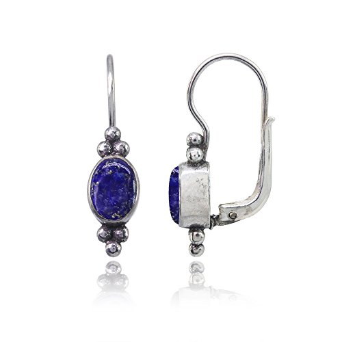 Sterling Silver Simulated Lapis Oval Bezel-Set Bali Bead Leverback Drop Earrings