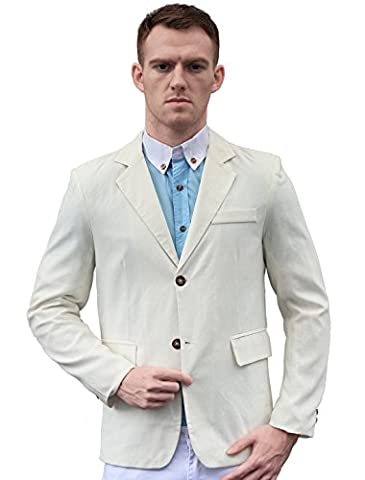 uxcell Man Padded Shoulders Two-Button Closure Front Blazer Off White L