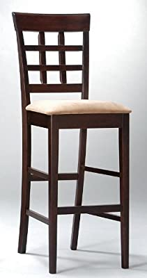 """Coaster Bar Stools, Solid Wood Cappuccino with Wheat Back,30""""H,Set of 2"""