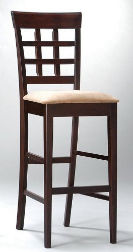 "Coaster Bar Stools, Solid Wood Cappuccino with Wheat Back,30""H,Set of 2"