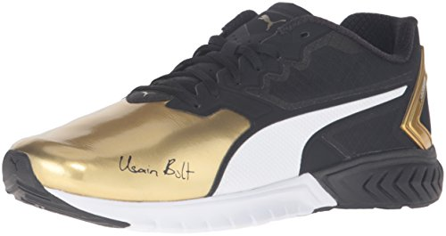 PUMA Men's Ignite Dual Bolt Running Shoe, Puma Black/Gold, 8 M US