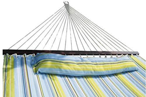 SueSport HC011-Blue(16-4020) Hammock Quilted Fabric with Pillow Double Size Spreader Bar H, Blue/Light Green