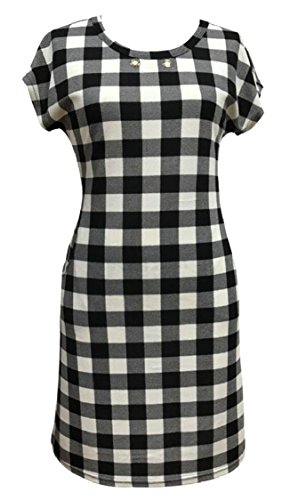 Tunic with 7 T Shirt Plaid Sleeve Pocket Swing Jaycargogo Womens Dresses Short xWnqPIzI