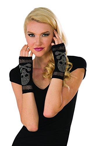 Rubies Black Rhinestone Skull Fingerless Gloves Adult One Size ()